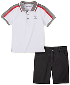 Toddler Boys 2-Pc. Colorblocked Polo Shirt & Twill Shorts Set