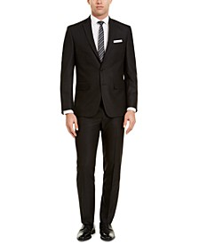 Men's Slim-Fit Black Herringbone Suit