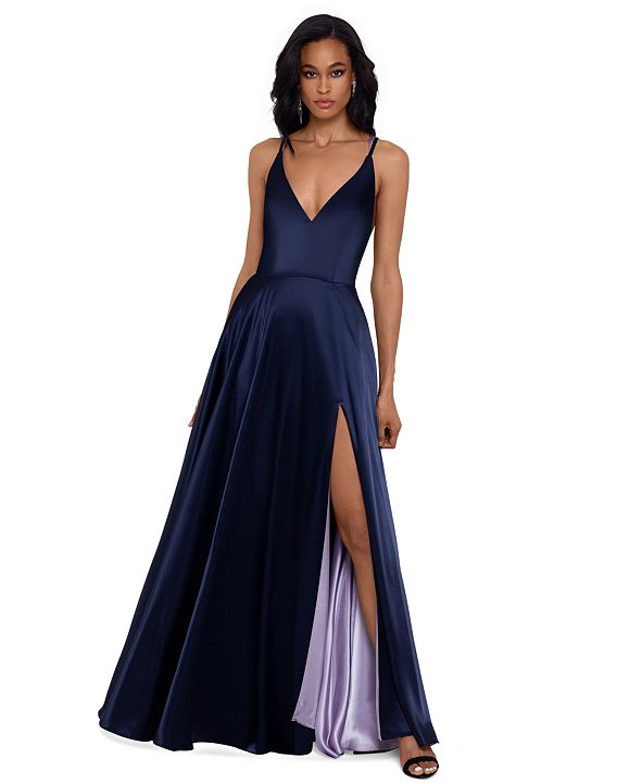 Betsy & Adam Tricolor Tie-Back Satin Gown