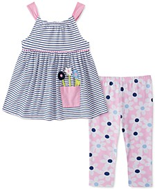 Little Girls 2-Pc. Striped Flower Tunic & Floral Leggings Set