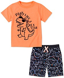 Toddler Boys 2-Pc. Dino T-Shirt & Board Shorts Set