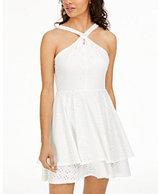 Juniors' Twisted Eyelet Dress