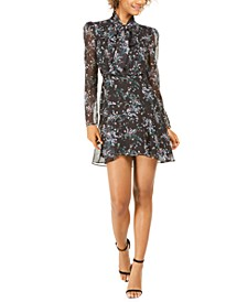 Gemma Printed Tie Sheer-Sleeve Dress