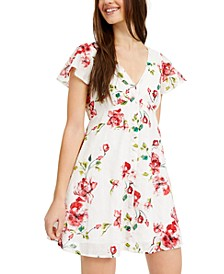 Juniors' Textured Floral-Print Shirtdress