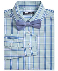 Big Boys 2-Pc. Stretch Green/Blue Plaid Dress Shirt & Blue Burlap Bow Tie Set