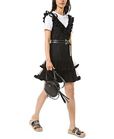 Pin-Dot Belted Tulle Dress