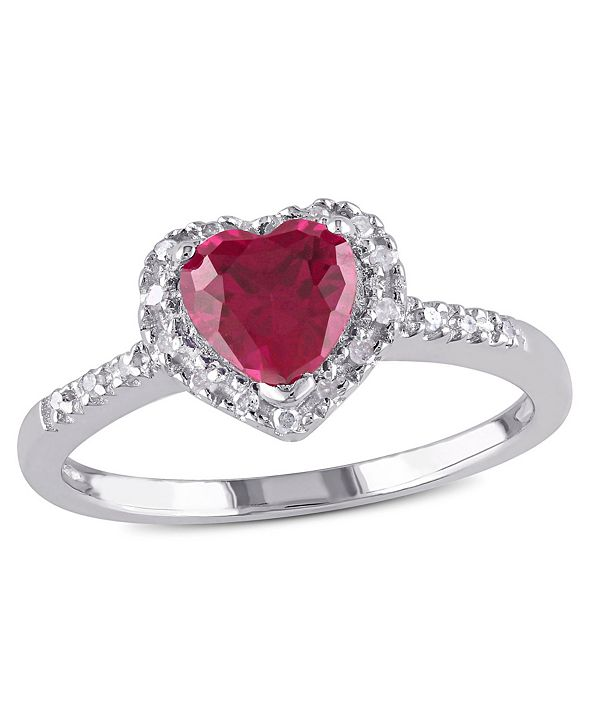 Macy's Created Ruby (1 ct. t.w.) and Diamond (1/10 ct. t.w.) Heart Halo Ring in Sterling Silver