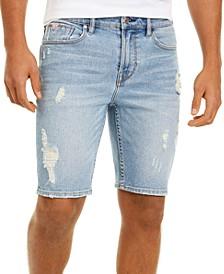 "Men's Slim-Fit Ripped Denim 10"" Shorts"