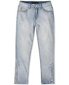 Big Girls Button-Hem Straight-Leg Jeans
