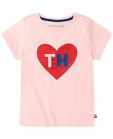 Big Girls Flip Sequin Heart T-Shirt