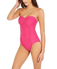 Liquid Pleated Bandeau Tummy Control One-Piece Swimsuit