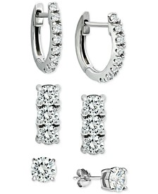 3-Pc. Cubic Zirconia Earring Set in Sterling Silver, Created for Macy's
