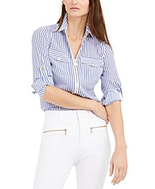 Striped Zip-Up Shirt, Regular & Petite