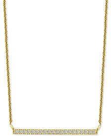 "Cubic Zirconia Bar Pendant Necklace in 18k Gold-Plated Sterling Silver, 16"" + 2"" extender, Created for Macy's"