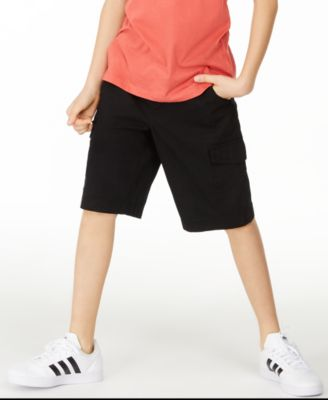 Big Boys Black Textured Canvas Cargo Shorts, Created for Macy's