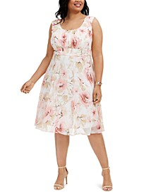 Plus Size Floral-Print Chiffon Dress