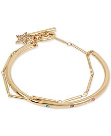 Gold-Tone Multicolor Pavé Layered Chain Cuff Bracelet
