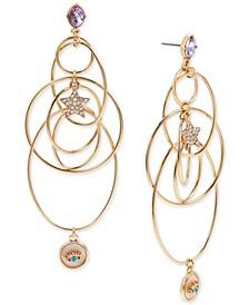 Gold-Tone Crystal Star & Evil Eye Orbital Statement Earrings