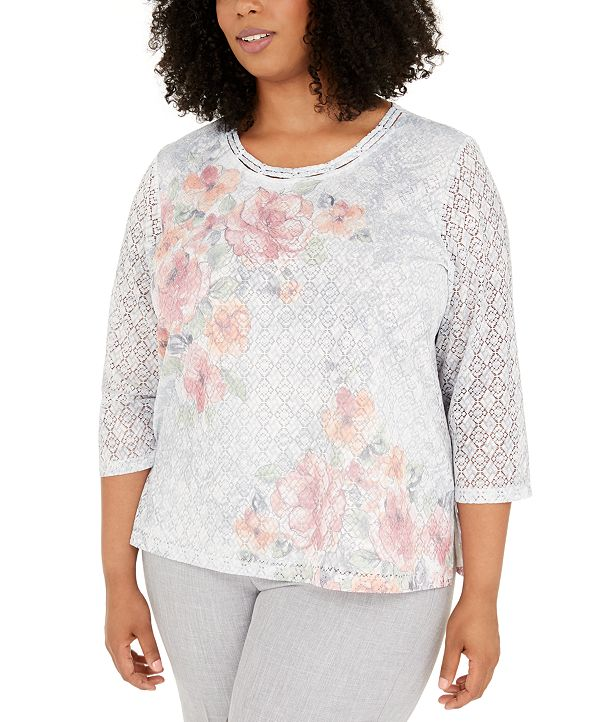 Alfred Dunner Plus Size Primrose Garden Lace Top