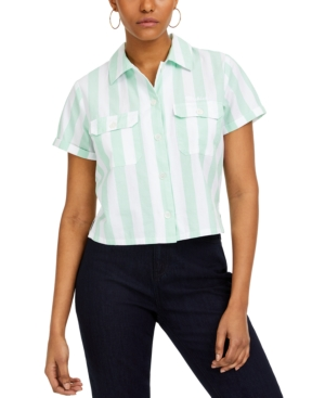 Dickies Junior's Striped Cropped Shirt In Neo Mint