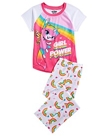Big Girls 2-Pc. Rainbow Butterfly Unicorn Kitty Pajama Set