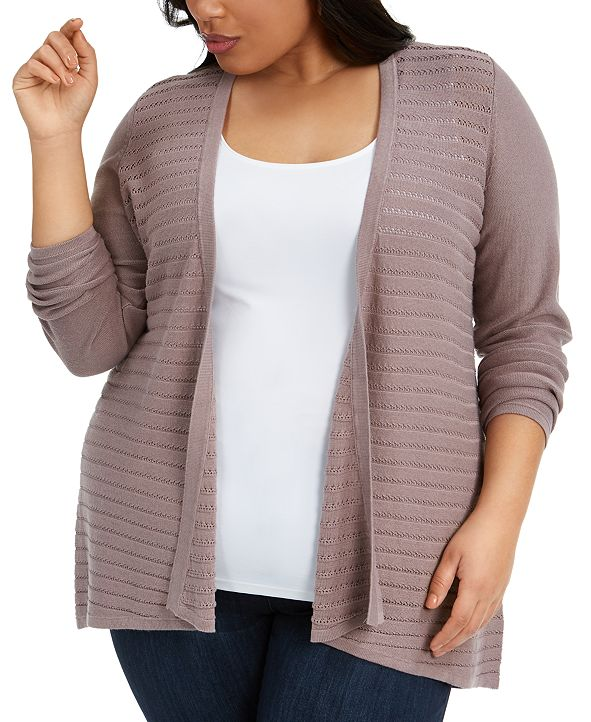 Belldini Plus Size Stitched Open-Front Cardigan