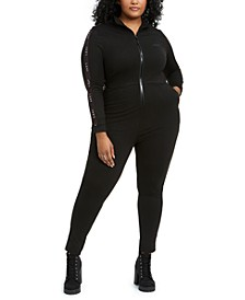 Trendy Plus Size Fitted Track Jumpsuit, Created for Macy's
