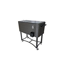 80 Qt. Wicker Rolling Patio Cooler
