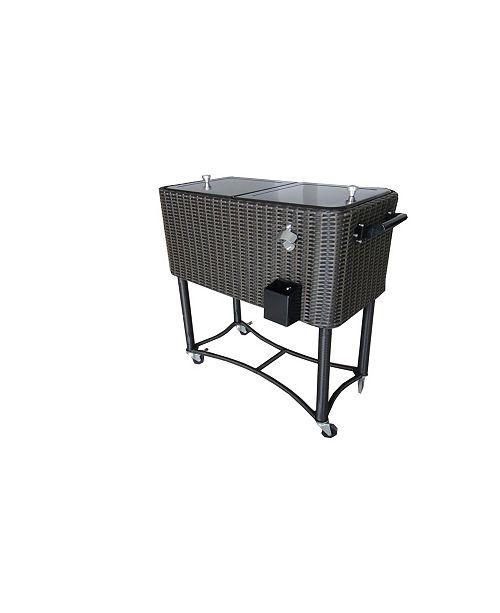 Permasteel 80 Qt. Wicker Rolling Patio Cooler