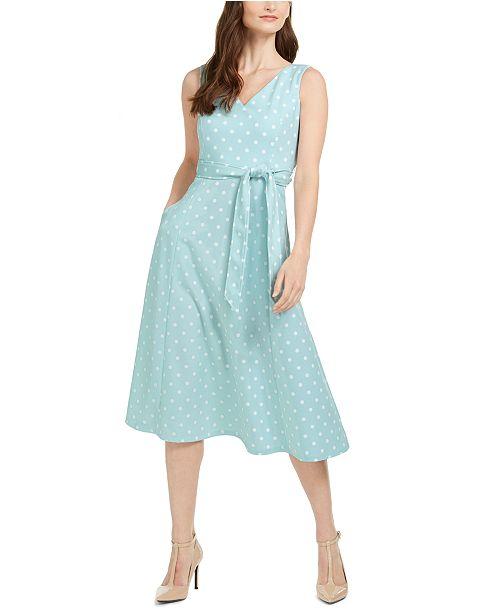 Calvin Klein Dot-Print Fit & Flare Midi Dress