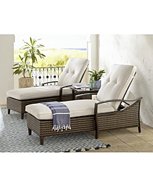 North Shore Outdoor 3-Pc. Chaise Set (2 Chaise Lounges & End Table) with Sunbrella® Cushions, Created for Macy's