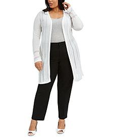 Belldini Plus Size Striped Pointelle Cardigan
