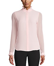 Ruffle-Neck Button-Up Blouse