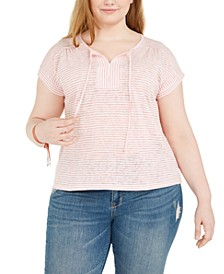 Plus Size Keyhole-Neck T-Shirt, Created for Macy's