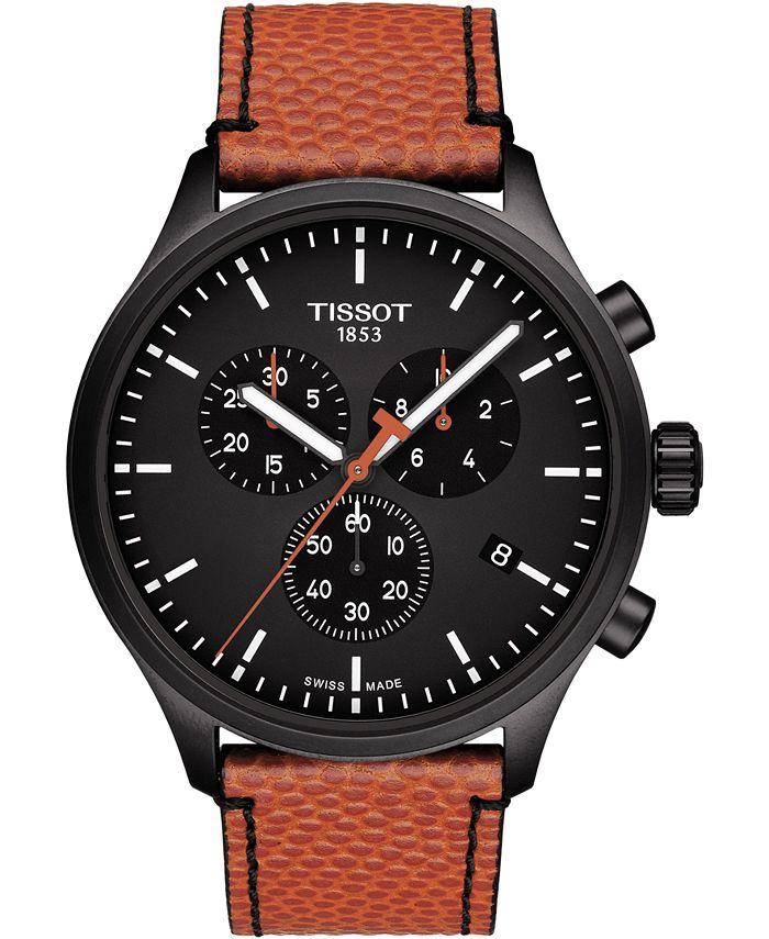 Tissot - Men's Swiss T-Sport Chrono XL NBA Orange Textured Leather Strap Watch 45mm - Limited Edition