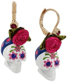 Gold-Tone Sugar Skull & Fabric Rose Drop Earrings