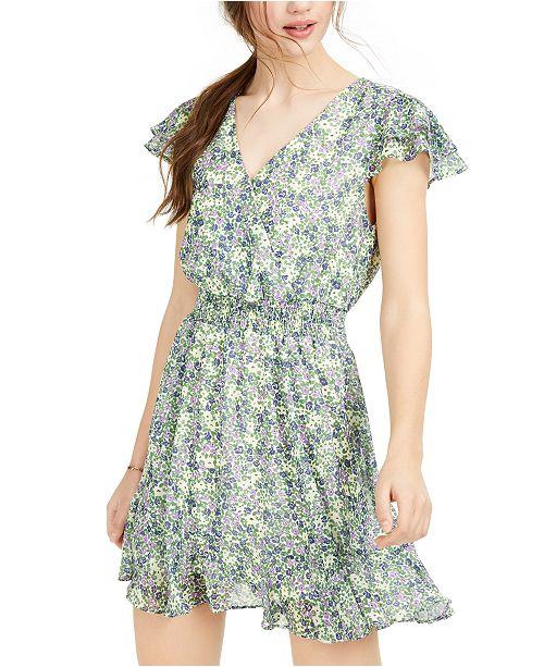 Crystal Doll Juniors' Floral-Print Ruffled Dress