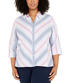 Plus Size Petal Pushers Ombré Stripe Button-Up Shirt