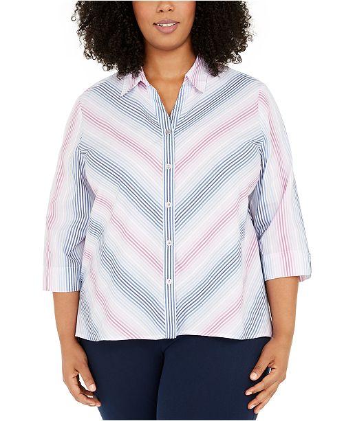 Alfred Dunner Plus Size Petal Pushers Ombré Stripe Button-Up Shirt