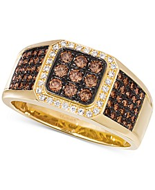 Chocolatier® Men's Diamond Cluster Ring (7/8 ct. t.w.) in 14k Gold