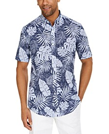 Men's Brody Leaf Tropical Print Short Sleeve Shirt, Created for Macy's