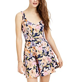 Juniors' Metallic Floral-Print Fit & Flare Dress
