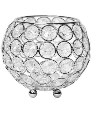 Elegant Designs Elipse Crystal Circular Bowl Candle Holder, Flower Vase, Wedding Centerpiece