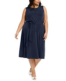 Plus Size Sleeveless Tie-Side Midi Dress, Created for Macy's