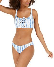 Tie-Dyed Lace-Up Tankini Top & Classic Bikini Bottoms