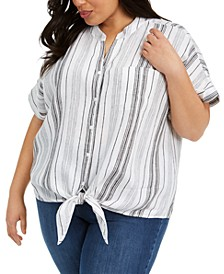 Plus Size Striped Tie-Front Linen Top, Created for Macy's