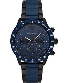 Men's Blue & Black Ceramic Bracelet Watch 43mm