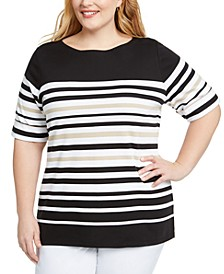 Plus Size Striped Elbow-Sleeve Top, Created for Macy's