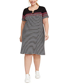 Karen Scott Plus Size Cotton Striped Lace-Up Dress, Created for Macy's