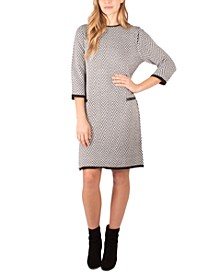 Faux-Leather-Trim Sweater Dress